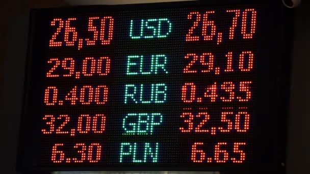 LED screen with currency exchange rates, financial info, foreign currency  sale