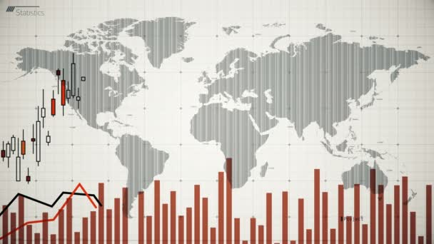 Stock market graphs monitoring fluctuations, world financial situation, stats