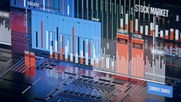 Stock market index árak felfelé és lefelé mozgó, 3d diagram, gazdasági előrejelzés