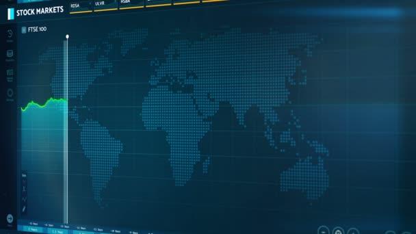 Burzy indexy z Velké Británie na obrazovce, nestabilní ekonomika