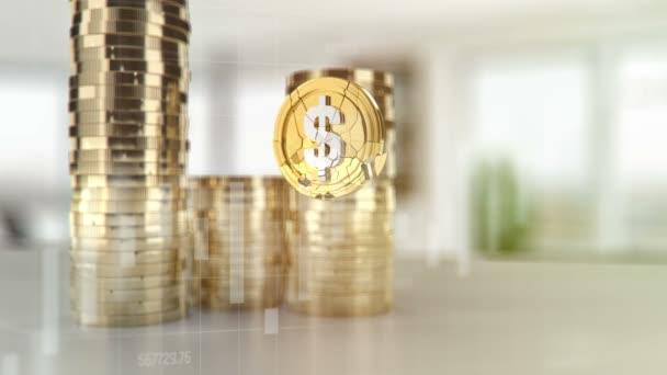 US dollár összeomlik, az amerikai valuta értékkel, érme esik, lassítva