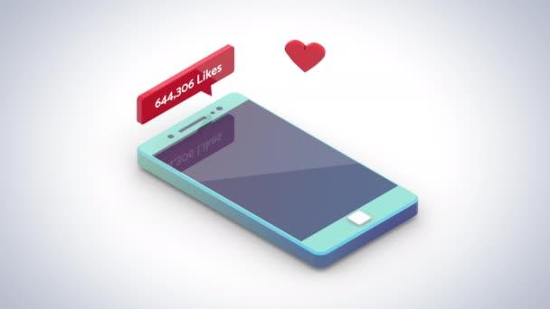Közösségi média szereti számláló, szív összeadás, népszerűség, követők, befolyásoló