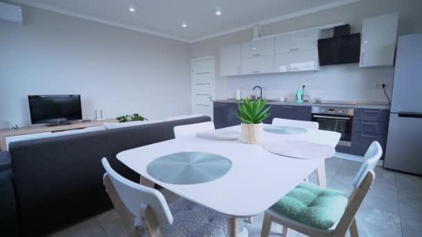 Modern stúdió apartman ragyog takarítás után, hi-tech konyha design