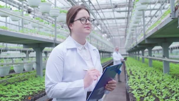 Női botanikusok szemüvegben jegyzetelnek az írótáblán, üvegházban dolgoznak