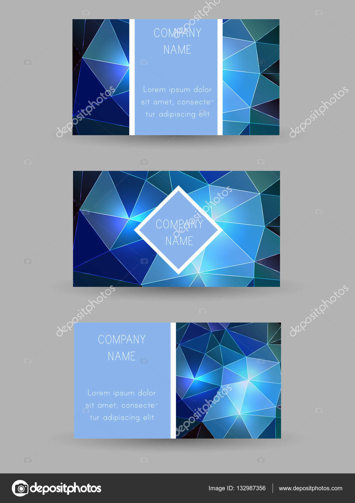Set of vector business cards with polygonal background. — Stock ...