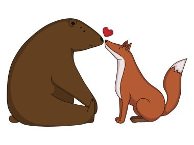 Vector drawing lovers bear and fox.