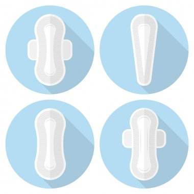 Set of vector icons feminine sanitary pads.