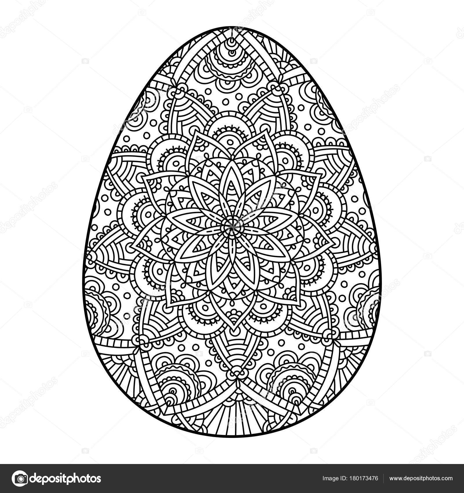 Easter Egg Mandala Vector Illustration Of An Easter Egg With A Mandala Pattern Coloring Isolated On A White Background Stock Vector C Antaya 180173476