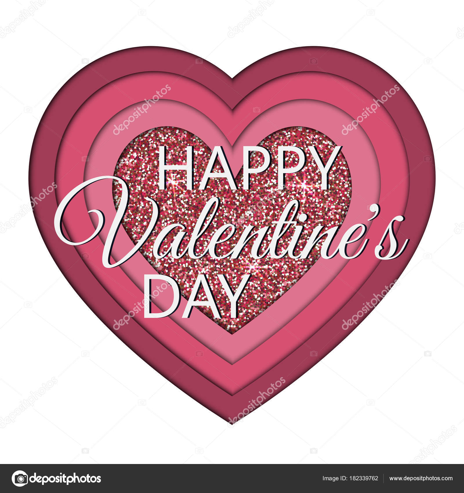 Valentines Day Lettering On Paper Cut Heart Greeting Card Template