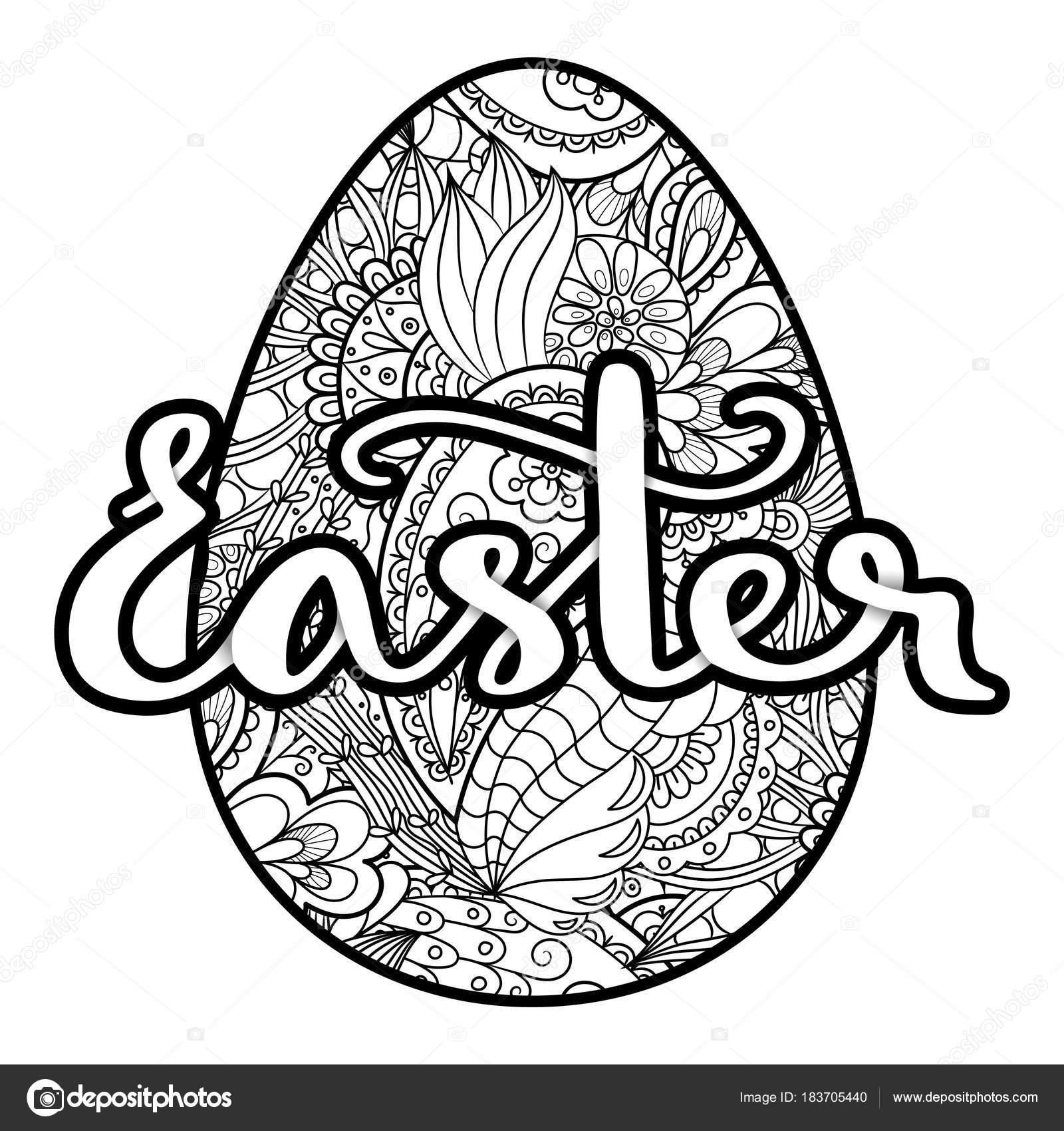Vector para colorear huevos de Pascua con manuscrita Letras Pascua ...