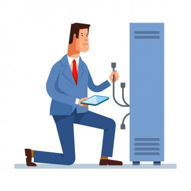 Vector flat illustration of network engineer administrator working