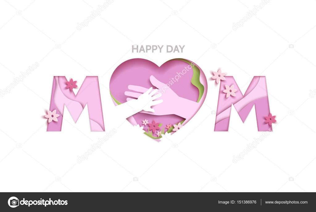 Konzept-Mütter Liebe oder Mutter Pflege mit Elemente Hände, Blumen ...
