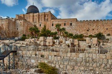 Jerusalem - 11 November, 2016: Old city wall, Jerusalem stock vector