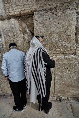 Jerusalem - 15 November, 2016: Men praying at the