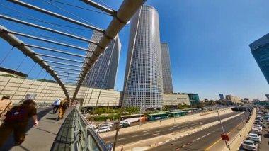Tel aviv - 23.05.2017: Tel-Aviv trains and hi-way tilt-shift time-lapse video 4k