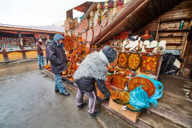 Moscow - 22.04.2017: The market at Izmailovsky Kremlin, Moscow