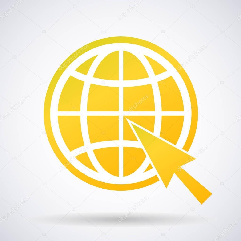 Sutes That Are Yellow: Amarillo De Oro Icono De Sitio Web Con Una Flecha Aislada