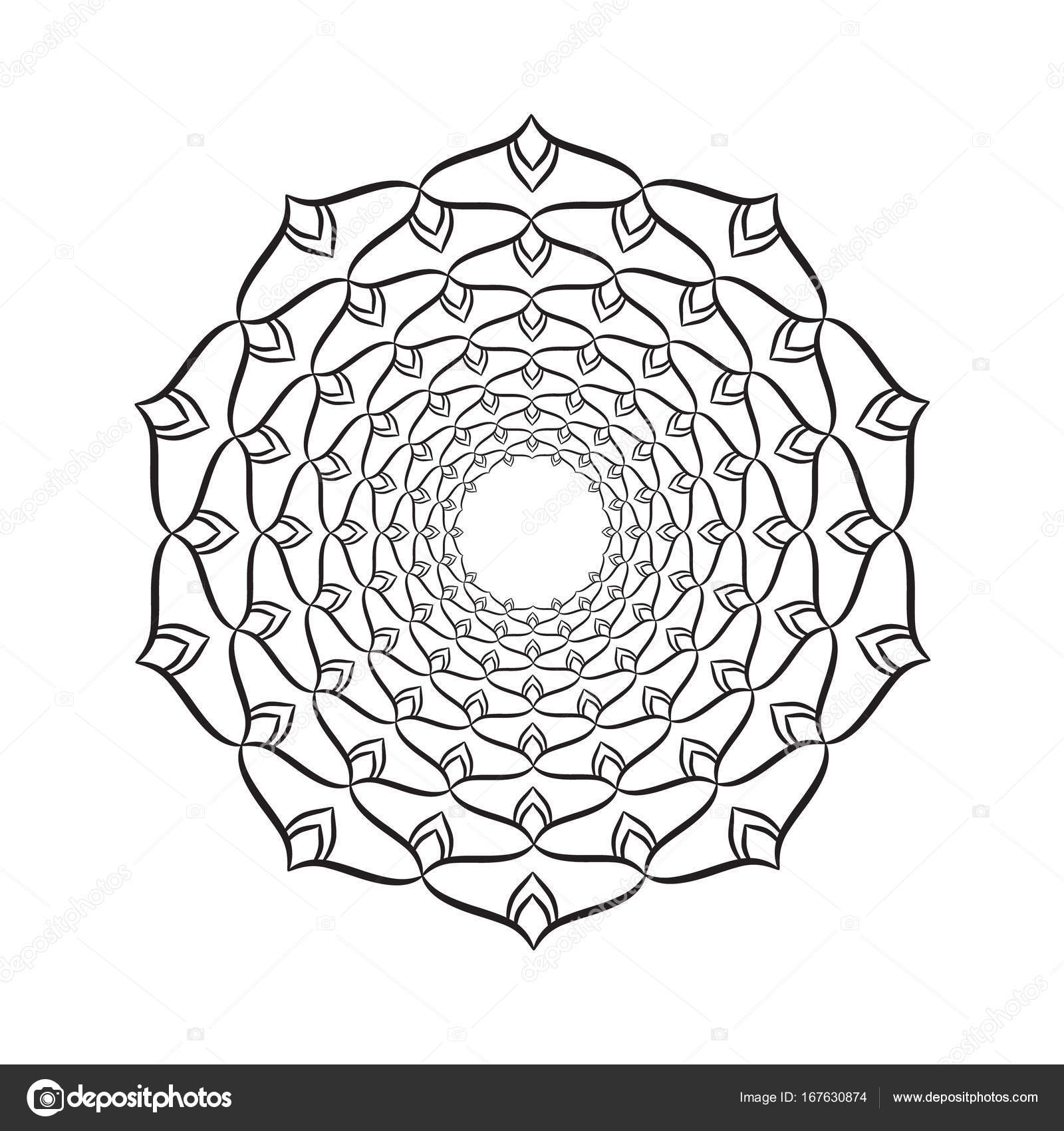 Mandala-Ornament. Runde Vorlage. Dekoratives element — Stockvektor ...
