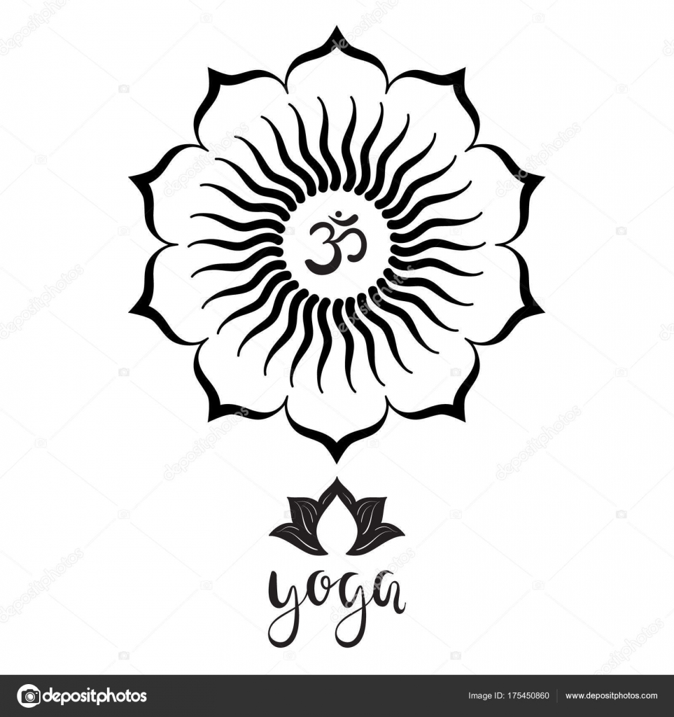 Symbol hand drawn mandala lotus flower yoga lettering set oriental om symbol with hand drawn mandala lotus flower yoga lettering set of oriental ornaments for yoga studio poster and logo coloring book mightylinksfo