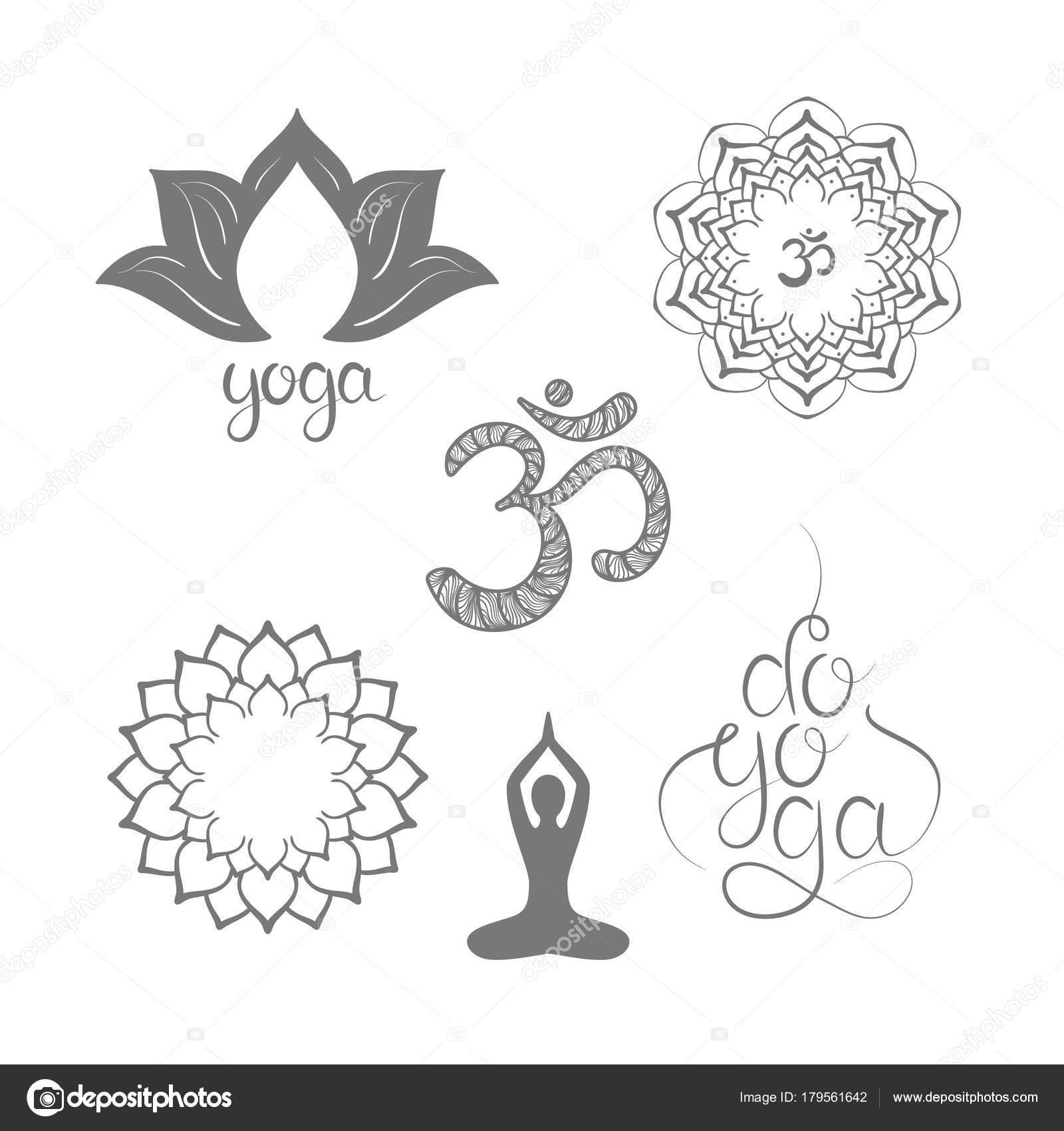 Symbol Hand Drawn Mandala Lotus Yoga Lettering Set Oriental
