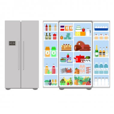 Illustration grey closed and opened refrigerator full of food - vector stock. Fruit, vegetables, meat, cheese, milk, eggs in freser. Daily ration.