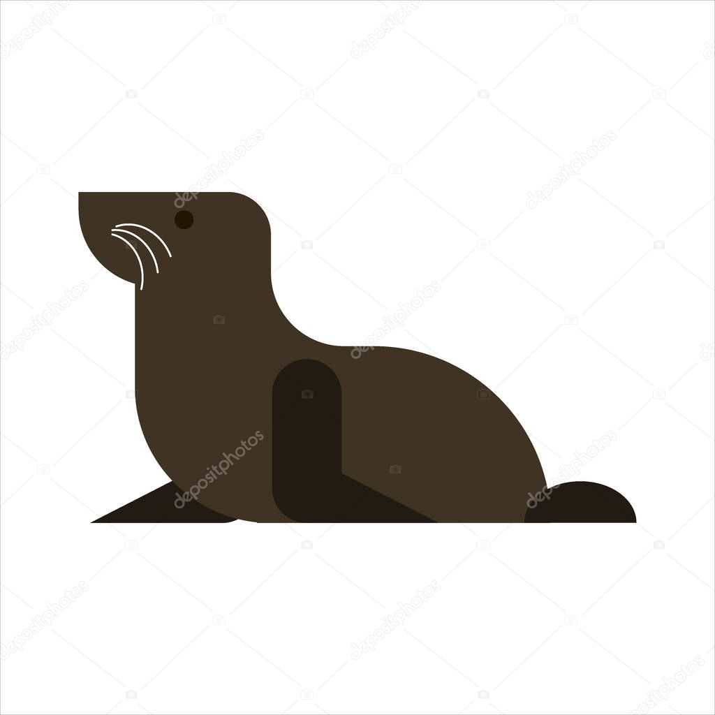 Fur seal isolated on white background. Sea lion icon - vector illustration.