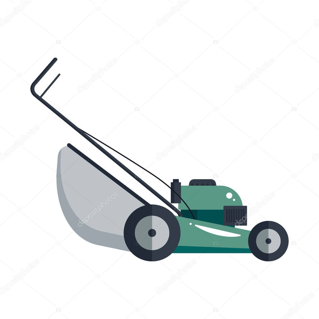 Lawn Mower Machine Icon Technology Equipment Tool Gardening Grass Cutter Vector Stock Stock Vector Image By C Startstock 130181006