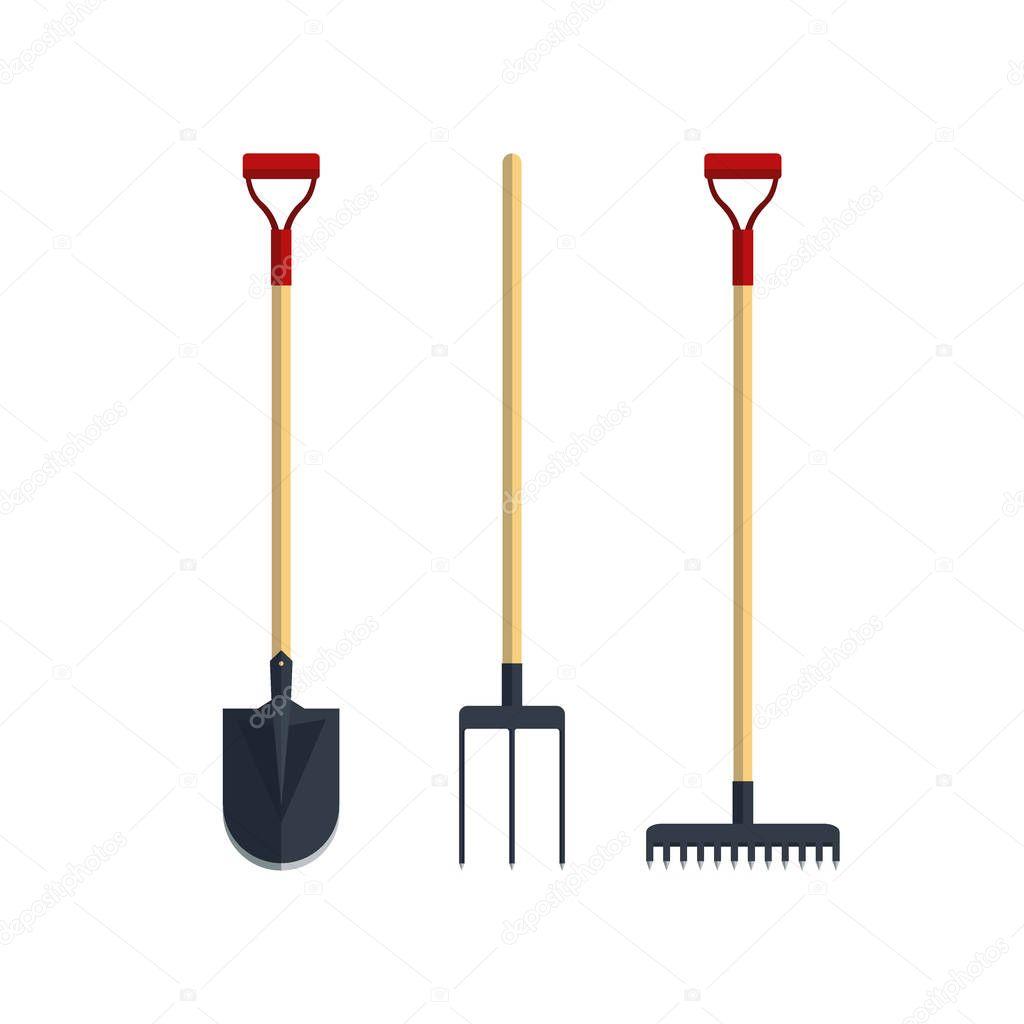 set pitchfork shovel spade rake flat tool icon logo vector illustration farming equipment. Black Bedroom Furniture Sets. Home Design Ideas