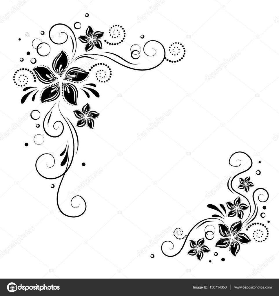 Black Flower Decorative Frame Vectors Material 04 Free: Coin Floral Design. L'ornement De Fleurs Noires Sur Fond
