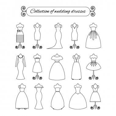 Collection of white thin line wedding dresses - stock vector illustration. Bride dress silhouette.
