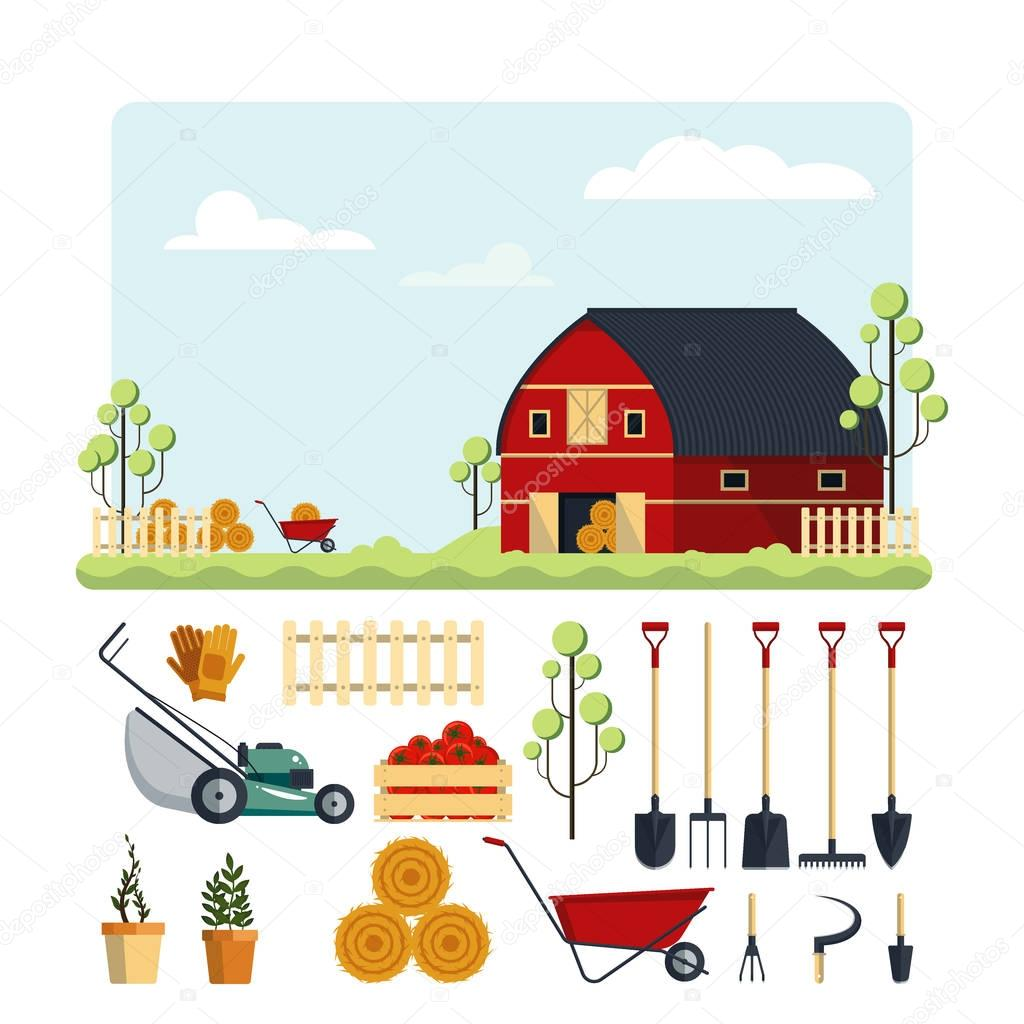 Set farm tools flat-vector illustration. Garden instruments icon collection isolated on white background. Farming equipment, ranch with hay.
