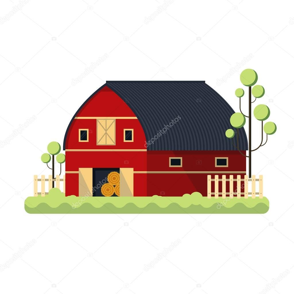 Farming barn flat for storing hay - vector illustration. Red ranch fence tree