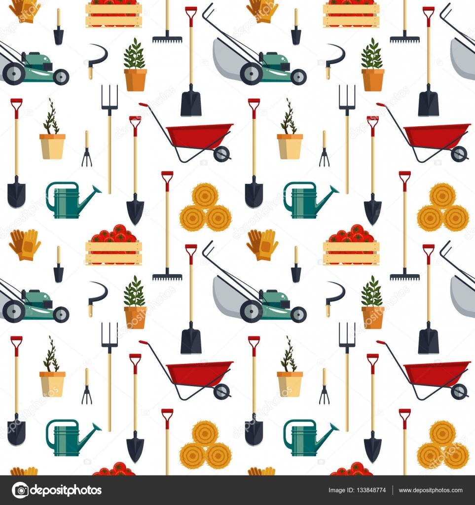 Seamless pattern farm tools flat-vector illustration. Garden ...
