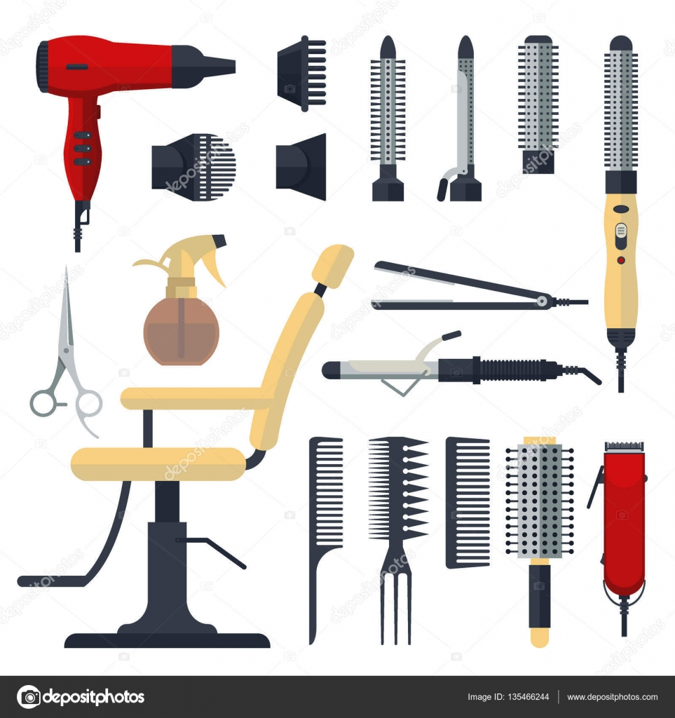Hair salon chair isolated stock photos illustrations and vector art - Set Of Hairdresser Objects In Flat Style Isolated On White Background Hair Salon Equipment And Tools Logo Icons Hairdryer Comb Scissors Chair