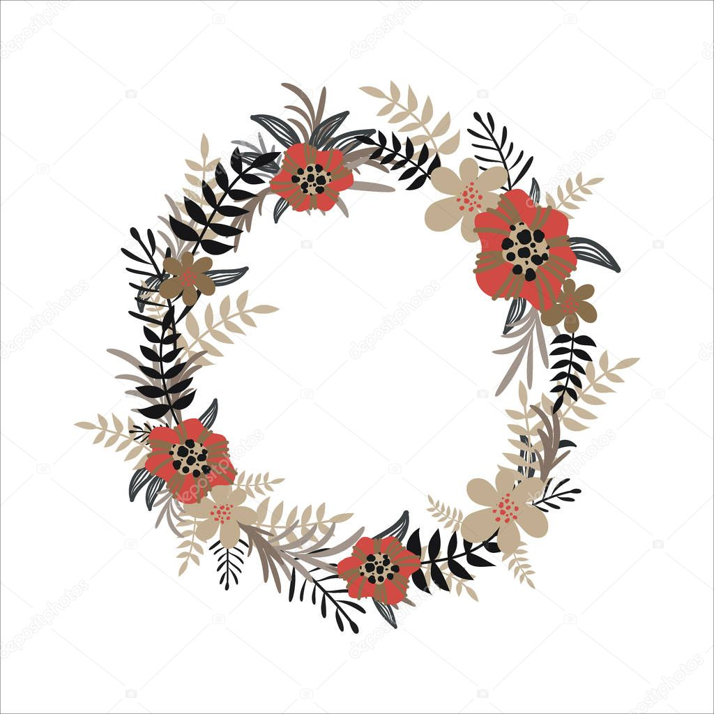 Vector flower wreath isolated on white background. Floral collection. Design for invitation, wedding or greeting cards