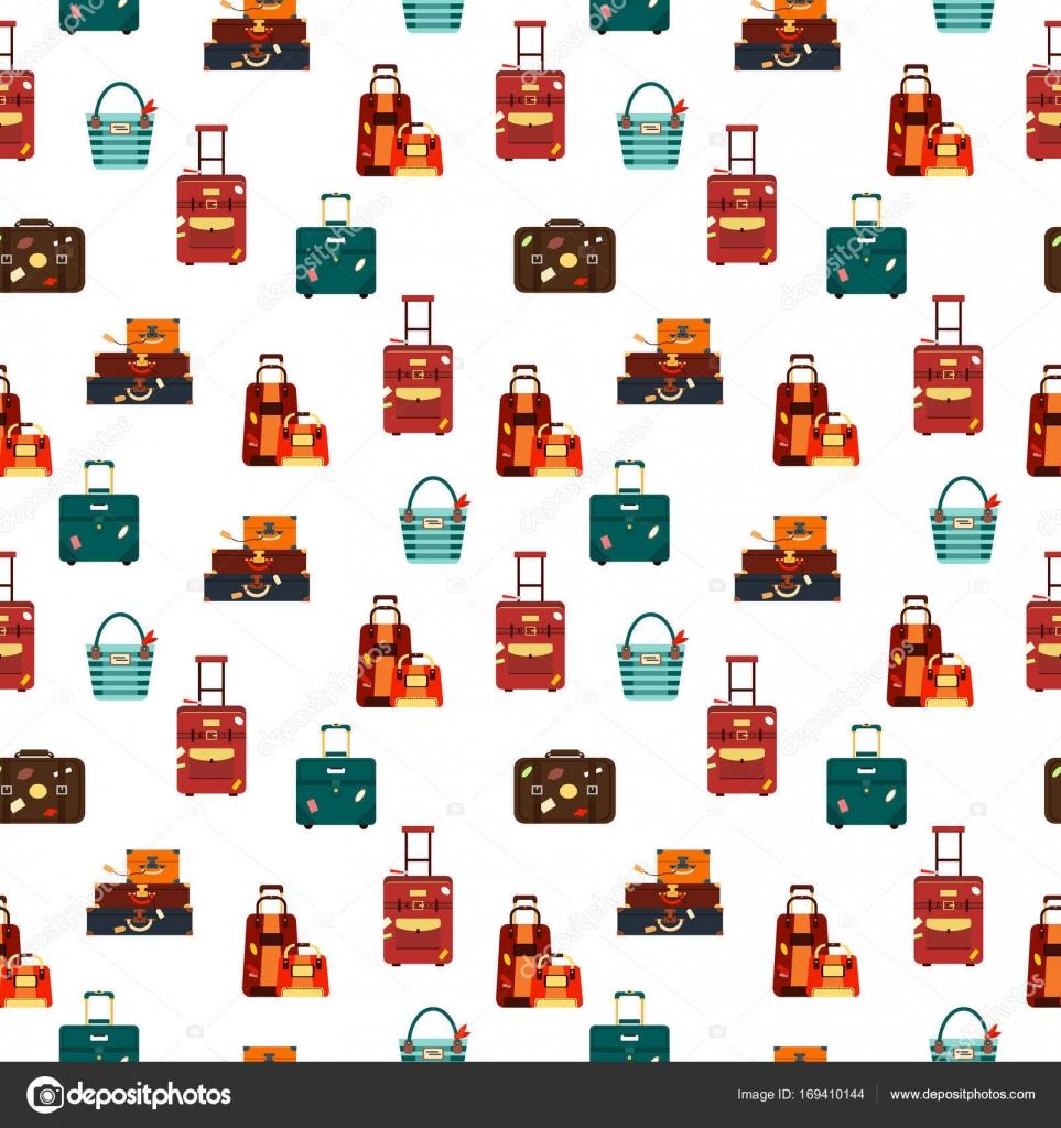 Bolsas de viaje de patrones sin fisuras aisladas en ilustración de ...