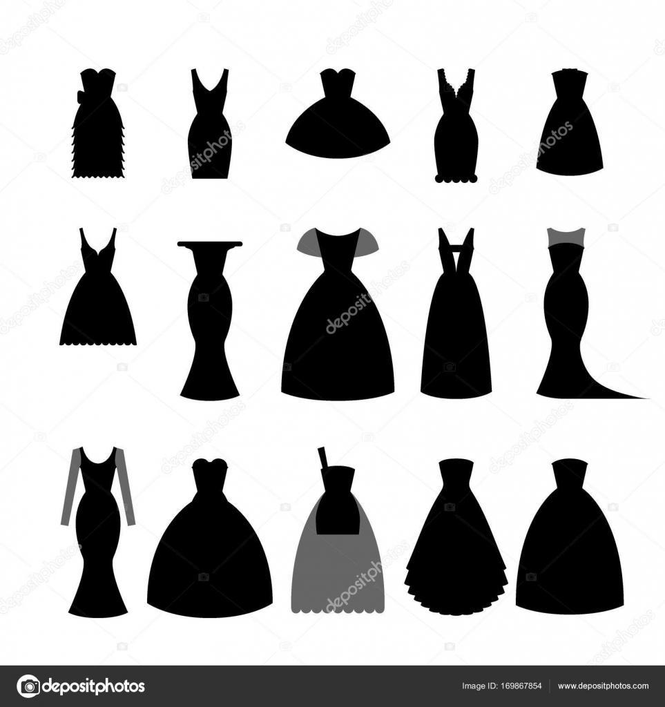 Siluetas De La Colección De Vestidos Negros En Fondo