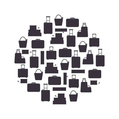 Black silhouette travel bags in circle isolated on white background vector illustration. Collection business voyage packing, handle trip baggage. Summer time. Handbag and luggage for adventure