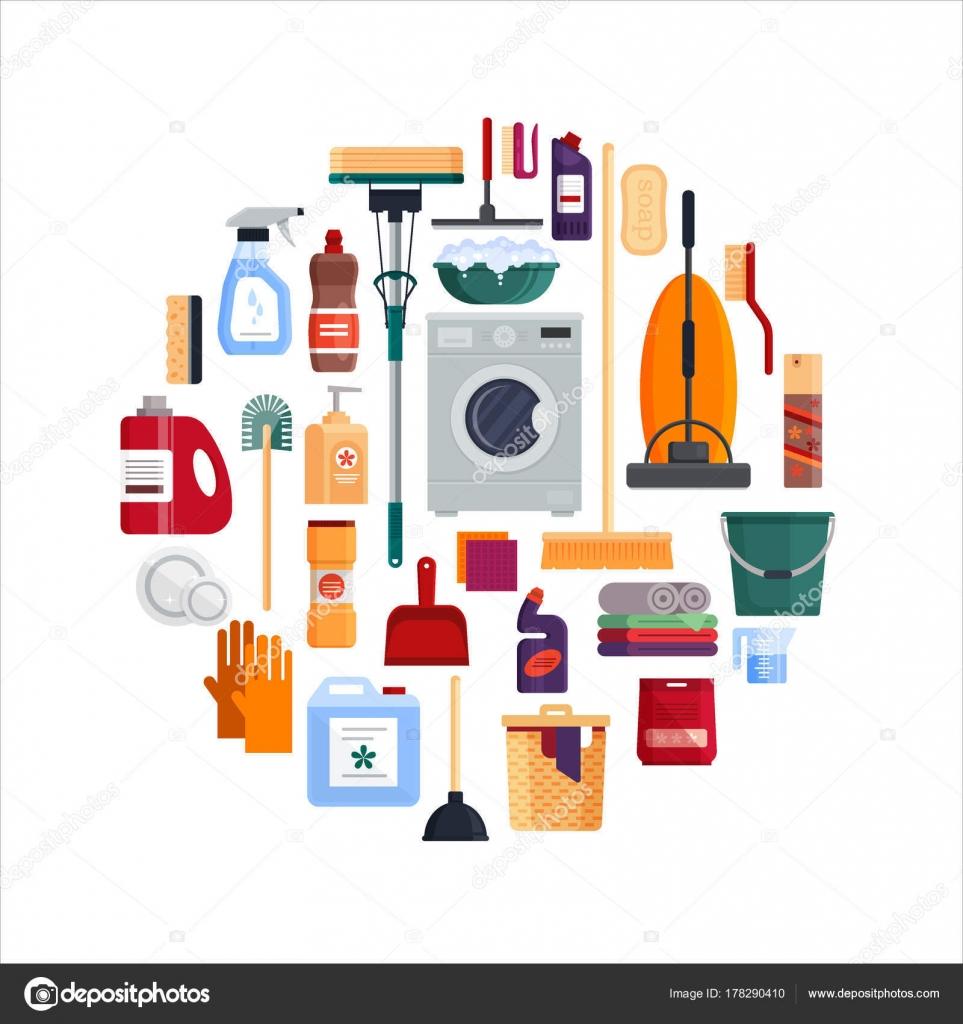 Diseño de círculo de servicio de limpieza. Set herramientas de ...