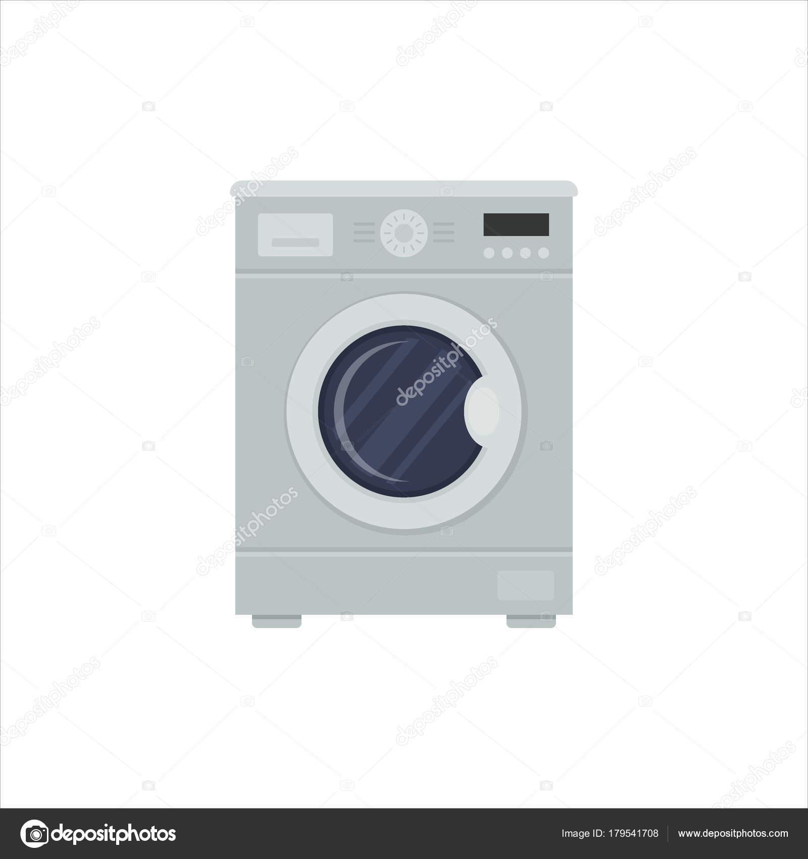 Flache Waschmaschine isoliert auf weißem Hintergrund. Haushaltsgerät ...