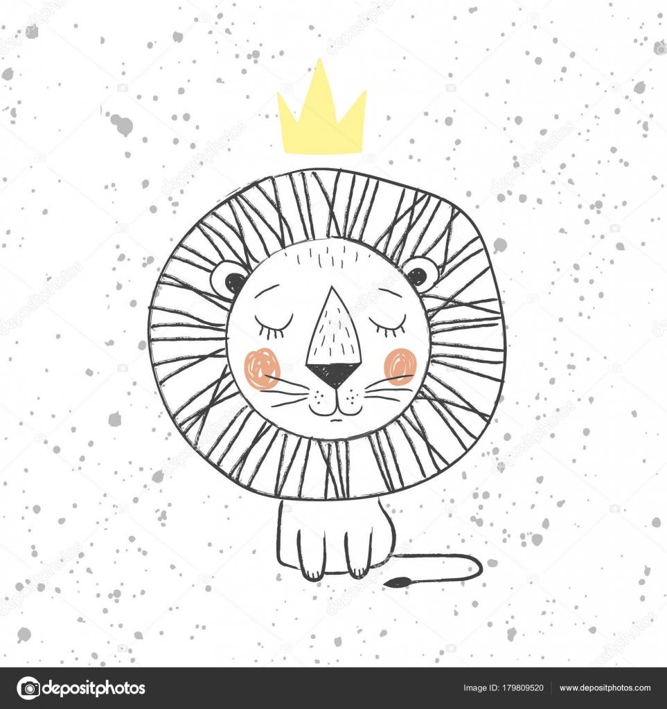 Rey dibujado mano León para niños t-shirt diseño, tarjeta de ...