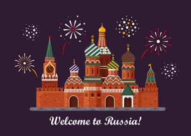 Welcome to Russia. St. Basil s Cathedral on Red square. Kremlin palace isolated on white background and night with fireworks - vector stock flat illustration. Landscape design