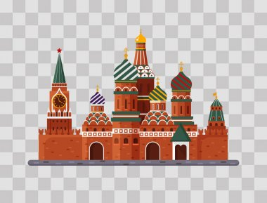 Welcome to Russia. St. Basil s Cathedral on Red square. Kremlin palace on transparent background - vector stock flat illustration. Landscape design