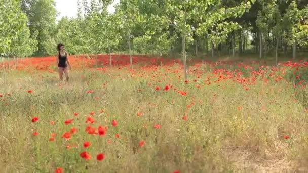 Sexy mladá žena chůze. Sledování snímku krásná pole plné červené květy a zelenými stromy, pole máku, jaro pozadí, příroda, letní atmosféru, čerstvé nové plodiny