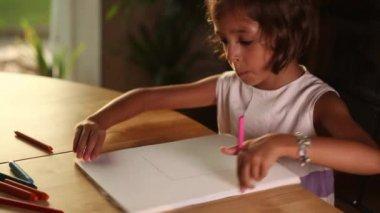 little girl doing homework