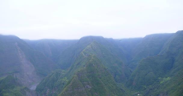 tropické hory v extrémní terén, zelený hustý les listí v ostrově Réunion, úžasné přírody krajiny, svěží džungle, rostoucí ve velkých horách na slunečný letní den