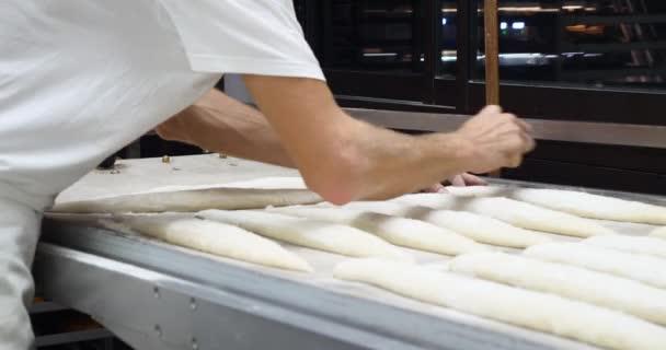 Baker, pečení a vaření v průmyslové peci. Organický handmade bageta tradiční francouzský styl lahodné zlatý bochník. Celozrnné potraviny krásné zlaté křupavé