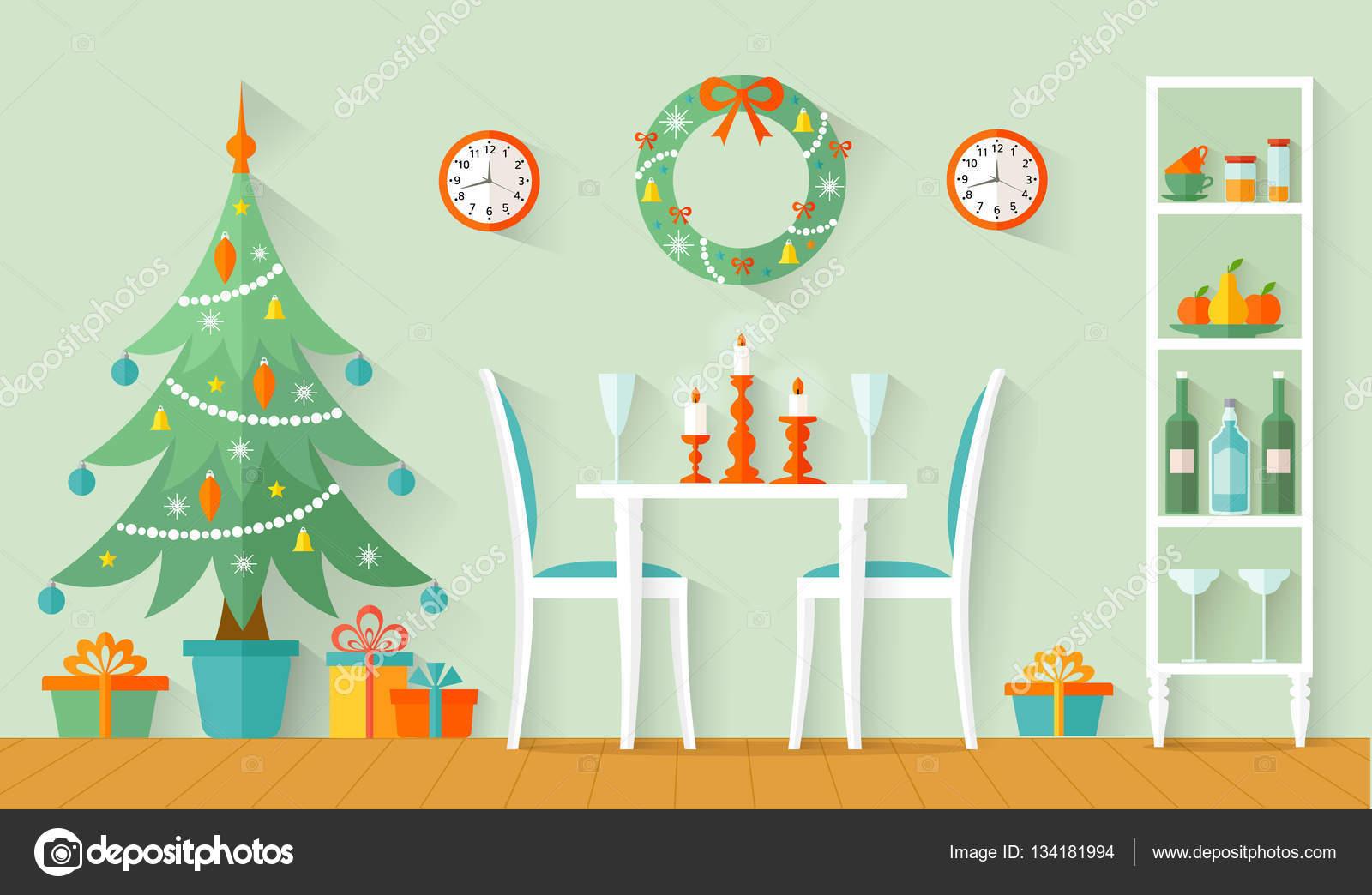Yeni Yıl İçin Yemek Masası Dekorasyonu