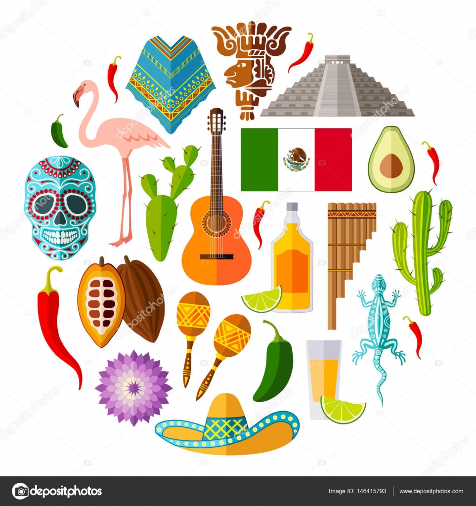 Set Of Mexican Icons In The Flat Style Vector Symbols And Design