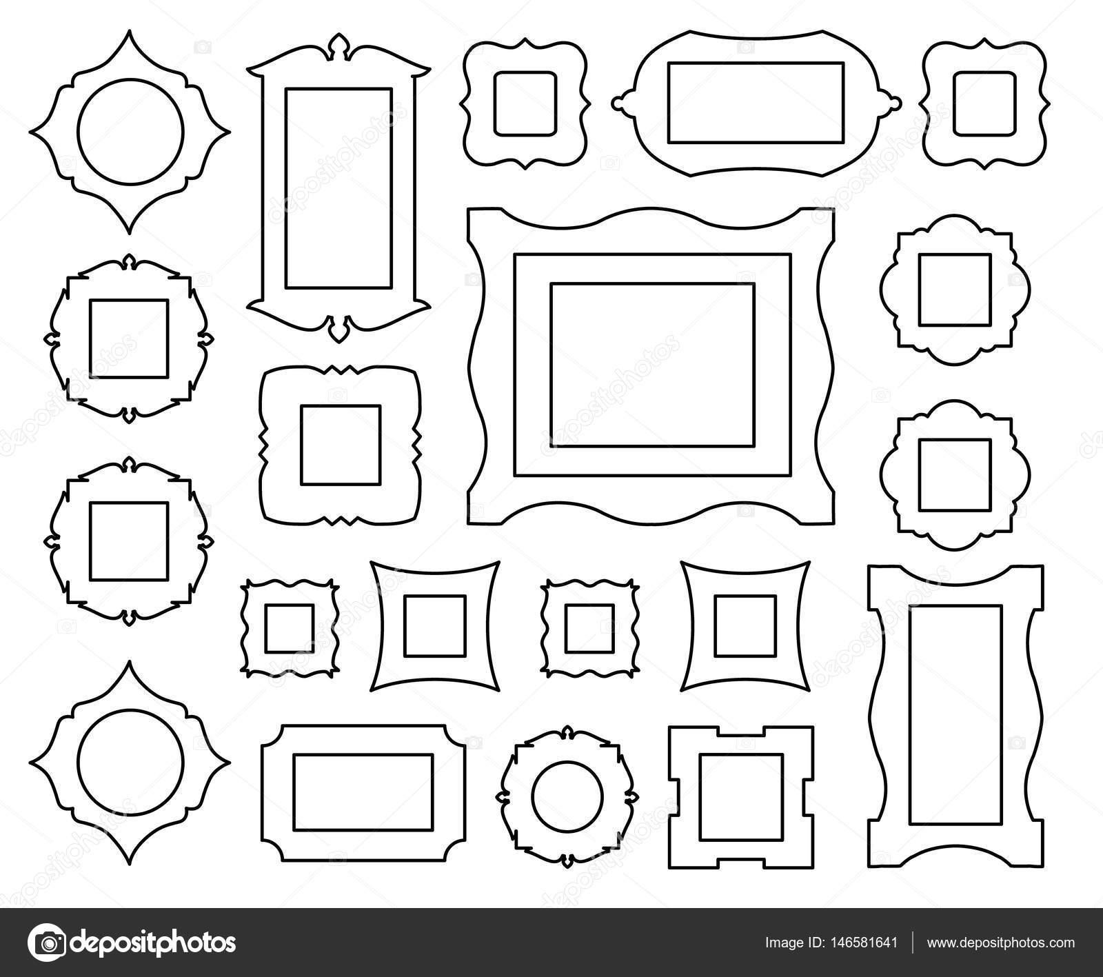 Vektor-Gliederung-Frames. Icons für Web-design — Stockvektor ...